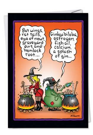 Funny Halloween Printed Greeting Card by Randall McIlwaine from NobleWorksCards.com - Witch Brew