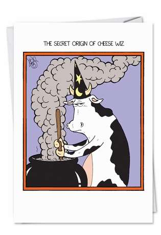 Funny Halloween Printed Card by Leigh Rubin from NobleWorksCards.com - Cheese Wiz