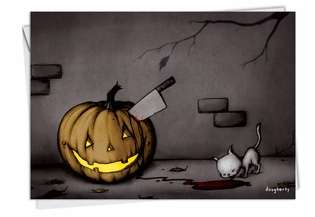 Hilarious Halloween Paper Greeting Card by Michael Dougherty from NobleWorksCards.com - Pumpkin Stab