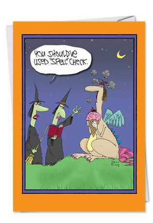 Hilarious Halloween Printed Card by Gary McCoy from NobleWorksCards.com - Witches Spell Check