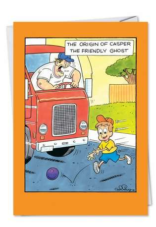 Humorous Halloween Paper Greeting Card by Daniel Collins from NobleWorksCards.com - Origin Of Casper