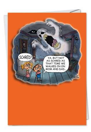 Hilarious Halloween Greeting Card by Mike Shiell from NobleWorksCards.com - Scared Mom Dad