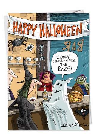 Humorous Halloween Greeting Card by Ian Baker from NobleWorksCards.com - In Bar for Boos
