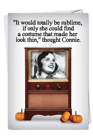 Humorous Halloween Printed Greeting Card from NobleWorksCards.com - Makes Me Look Thin