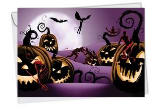 Hilarious Halloween Printed Card by Michael Broderick from NobleWorksCards.com - Naughty Pumpkins