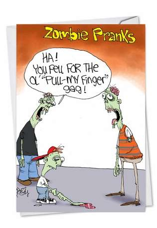 Funny Halloween Paper Card by Gary McCoy from NobleWorksCards.com - Zombie Pull My Finger