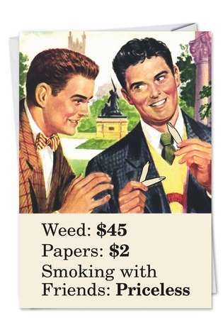 Humorous Blank Printed Card by Ephemera from NobleWorksCards.com - Smoking With Friends