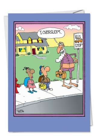 Hilarious Graduation Printed Card by Gary McCoy from NobleWorksCards.com - Overslept