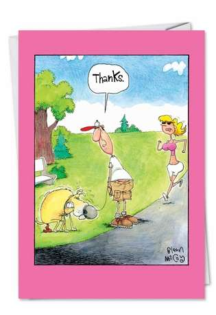 Funny Thank You Printed Card by Glenn McCoy from NobleWorksCards.com - Thanks Dog