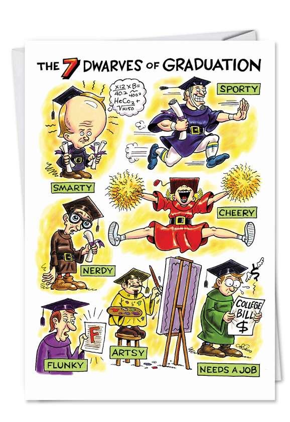 Humorous Graduation Paper Card by Daniel Collins from NobleWorksCards.com - Grad Dwarves