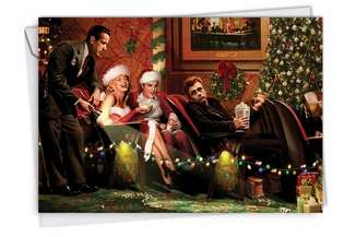 Hilarious Christmas Paper Greeting Card by Jadei Graphics from NobleWorksCards.com - Popcorn Stars