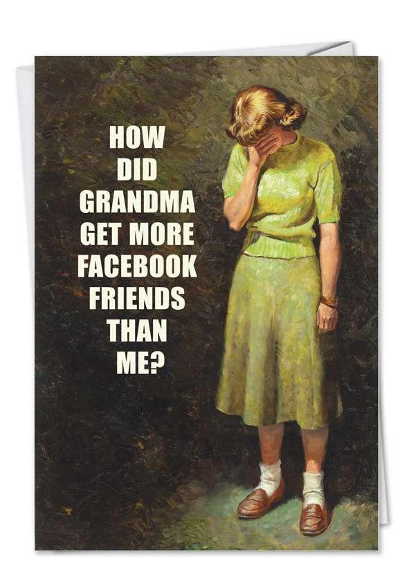 Humorous Birthday Greeting Card by Ephemera from NobleWorksCards.com - Grandma Facebook