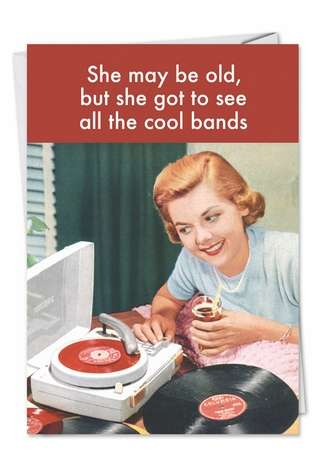 Funny Birthday Paper Card by Ephemera from NobleWorksCards.com - See Cool Bands