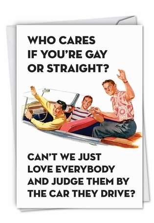 Hilarious Birthday Greeting Card by Ephemera from NobleWorksCards.com - Gay or Straight