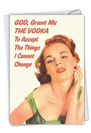 Funny Blank Printed Greeting Card by Ephemera from NobleWorksCards.com - Grant Me the Vodka