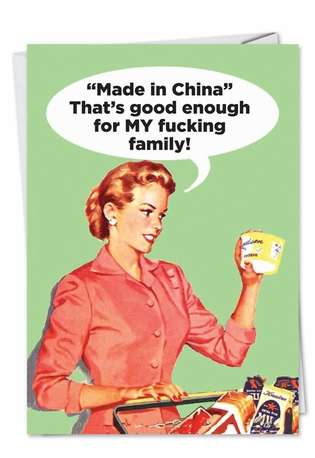 Hilarious Birthday Paper Greeting Card by Ephemera from NobleWorksCards.com - Made in China