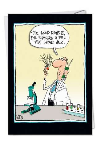 Humorous Get Well Paper Card by Gary McCoy from NobleWorksCards.com - Pill Grows Hair