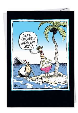 Funny Birthday Greeting Card by Glenn McCoy from NobleWorksCards.com - Coconuts