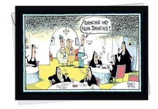 Humorous Birthday Paper Greeting Card by Glenn McCoy from NobleWorksCards.com - Nun Smoking
