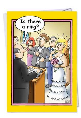 Humorous Congratulations Printed Card by Stan Eales from NobleWorksCards.com - Is There a Ring