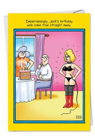 Humorous Birthday Paper Card by Stan Eales from NobleWorksCards.com - Embarrassing Wish