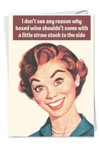 Hilarious Birthday Paper Greeting Card by Ephemera from NobleWorksCards.com - Boxed Wine