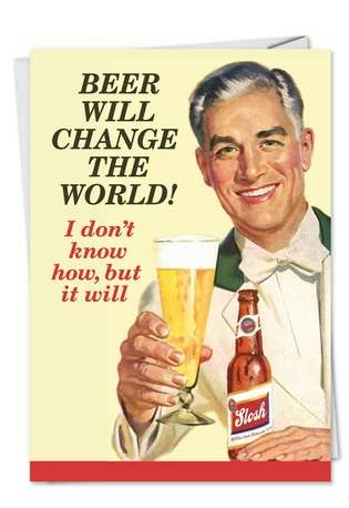 Humorous Birthday Father Paper Card by Ephemera from NobleWorksCards.com - Retro Beer