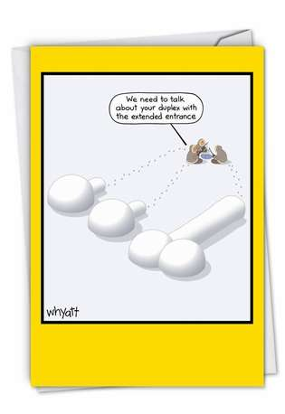 Humorous Blank Paper Greeting Card by Tim Whyatt from NobleWorksCards.com - Igloo Duplex