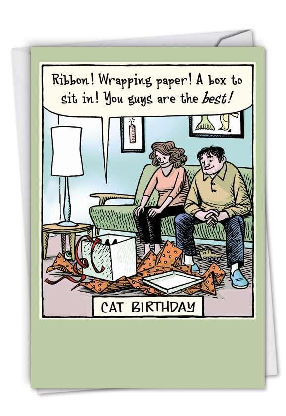 Humorous Blank Printed Greeting Card by Dan Piraro from NobleWorksCards.com - Cat Birthday