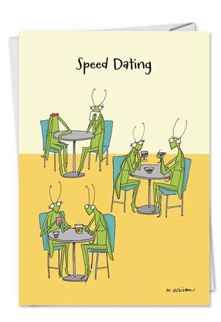 Humorous Blank Paper Card by Maria Scrivan from NobleWorksCards.com - Speed Dating