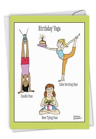 Hilarious Blank Paper Greeting Card by Maria Scrivan from NobleWorksCards.com - Birthday Yoga