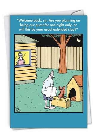 Humorous Birthday Paper Greeting Card by Leigh Rubin from NobleWorksCards.com - Doghouse