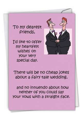 Hilarious Wedding Printed Card by D. T. Walsh from NobleWorksCards.com - Flaming Gay