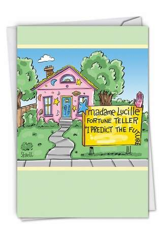 Hilarious Birthday Paper Card by Mike Shiell from NobleWorksCards.com - Predict The Future