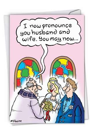 Hilarious Wedding Printed Greeting Card by Randall McIlwaine from NobleWorksCards.com - Update Facebook Status