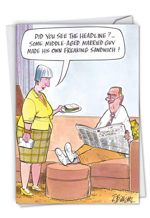 See The Headlines: Humorous Blank Printed Card