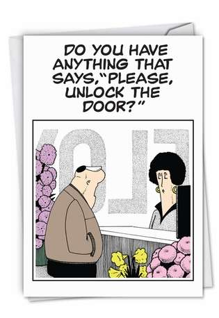 Funny Blank Paper Card by Brad Diller from NobleWorksCards.com - Unlock The Door