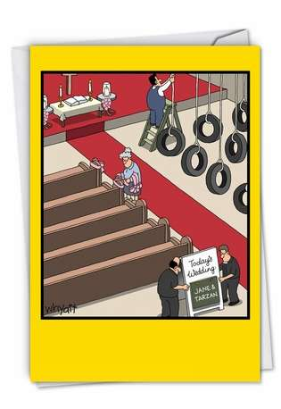 Funny Wedding Paper Card by Tim Whyatt from NobleWorksCards.com - Jane & Tarzan