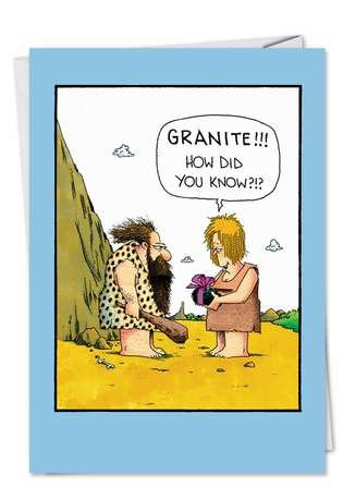 Funny Thank You Printed Greeting Card by John Caldwell from NobleWorksCards.com - Granite