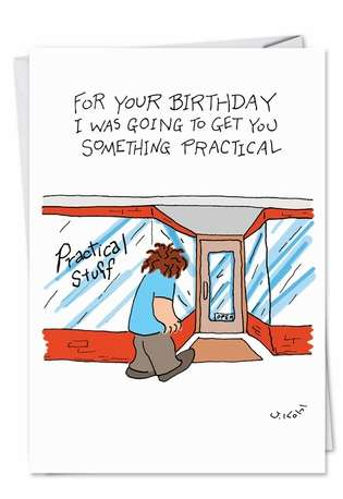 Hilarious Birthday Paper Card by Joseph Kohl from NobleWorksCards.com - Fatass Bought Up