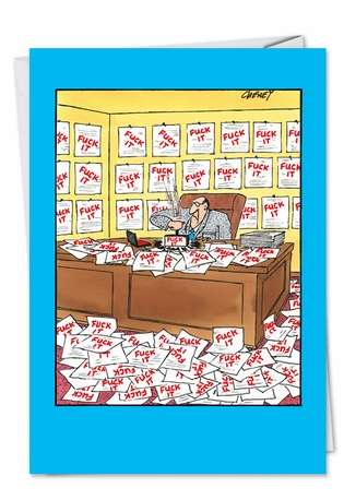 Funny Blank Paper Card by Tom Cheney from NobleWorksCards.com - Man With Stamp