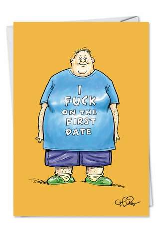 First Date: Funny Birthday Paper Greeting Card
