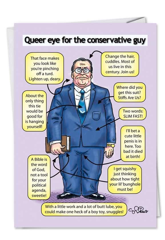 Queer Eye: Humorous Birthday Paper Greeting Card