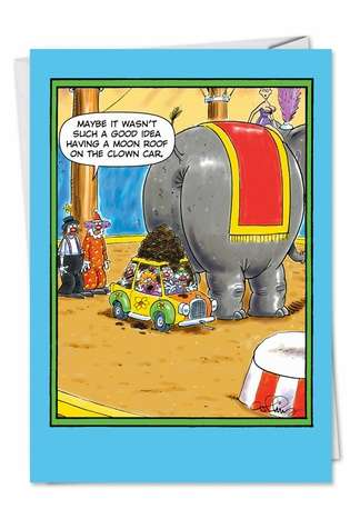 Funny Birthday Greeting Card by Daniel Collins from NobleWorksCards.com - Clown Car