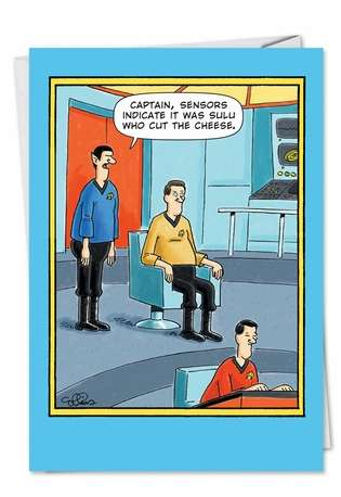 Funny Birthday Paper Card by Daniel Collins from NobleWorksCards.com - Sulu Cut Cheese