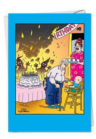 Humorous Birthday Printed Greeting Card by Daniel Collins from NobleWorksCards.com - Cake Fart