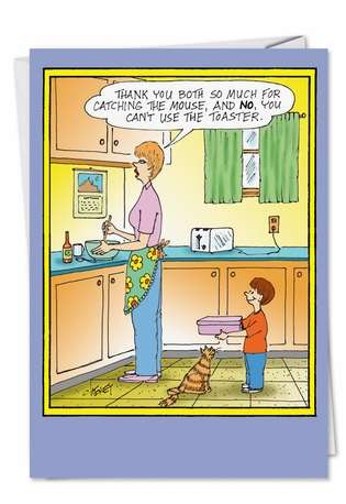 Humorous Birthday Mother Printed Greeting Card by Tom Cheney from NobleWorksCards.com - Mouse and Microwave