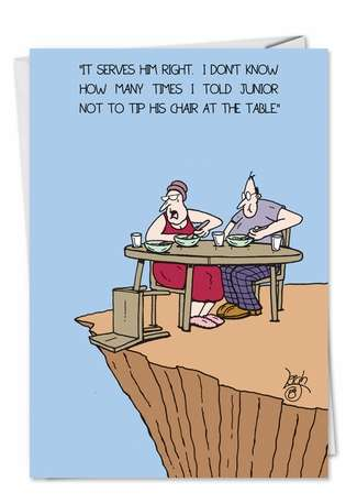 Funny Birthday Mother Greeting Card by Leigh Rubin from NobleWorksCards.com - Fall off Chair and Mountain
