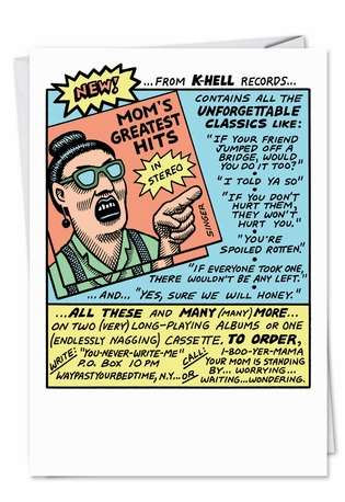 Hilarious Birthday Mother Printed Card by Andy Singer from NobleWorksCards.com - Funny Record Parody
