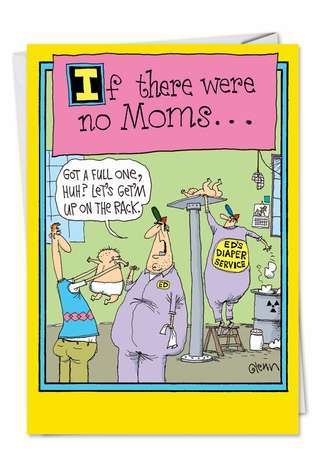 Humorous Birthday Mother Paper Greeting Card by Glenn McCoy from NobleWorksCards.com - Mechanic Mom